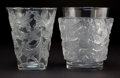 Art Glass:Lalique, R. LALIQUE CLEAR AND FROSTED GLASS GRIVES AND BACCHUSVASES . Circa 1938 . Stenciled: R. LALIQUE, FR... (Total: 2 Items)