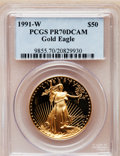Modern Bullion Coins: , 1991-W G$50 One-Ounce Gold Eagle PR70 Deep Cameo PCGS. PCGSPopulation (79). NGC Census: (603). Mintage: 50,411. Numismedia...