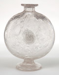 Art Glass:Schneider, CHARLES SCHNEIDER GLASS FOOTED VASE . Clear glass flask-from vasewith applied prunts, circa 1925 . Engraved: Schneider ...