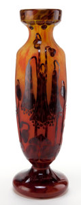 Art Glass:Schneider, CHARLES SCHNEIDER LE VERRE FRANCAIS GLASS CAMPANULES VASE .Yellow to orange glass vase with violet overlay acid...