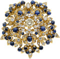 Estate Jewelry:Brooches - Pins, Diamond, Sapphire, Gold Pendant-Brooch. ...