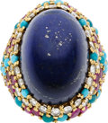 Estate Jewelry:Rings, Lapis Lazuli, Diamond, Ruby, Turquoise, Gold Ring. ...