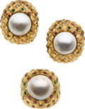 Estate Jewelry:Suites, Retro Mabe Pearl, Diamond, Ruby, Emerald, Gold Jewelry Suite. ...