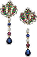Estate Jewelry:Earrings, Sapphire, Ruby, Emerald, Diamond, Gold Earrings, Buccellati. ...