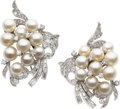 Estate Jewelry:Earrings, Cultured Pearl, Diamond, Platinum Earrings, circa 1950. ...