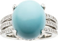 Estate Jewelry:Rings, Turquoise, Diamond, Platinum Ring. ...