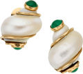 Estate Jewelry:Earrings, Shell, Emerald, Gold Earrings, Seaman Schepps. ...