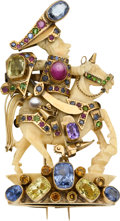 Estate Jewelry:Brooches - Pins, Multi-Stone, Carved Ivory, Gold Brooch. ...