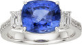 Estate Jewelry:Rings, Sapphire, Diamond, Platinum Ring. ...