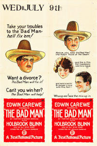 "The Bad Man (First National, 1923). One Sheet (27"" X 41"")"