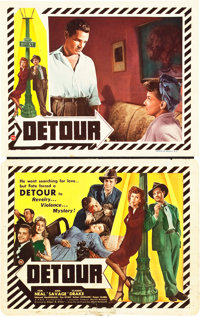 "Detour (PRC, 1945). Title Lobby Card and Lobby Card (11"" X 14""). ... (Total: 2 Items)"