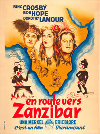 """Road to Zanzibar (Paramount, Late 1940s). First Post-War Release French Grande (47"""" X 63"""")"""