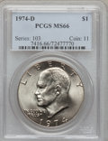 Eisenhower Dollars: , 1974-D $1 MS66 PCGS. PCGS Population (425/14). NGC Census: (484/7).Mintage: 45,517,000. Numismedia Wsl. Price for problem ...