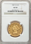 Liberty Eagles, 1847-O $10 AU58 NGC. Breen-6881, Variety 4....