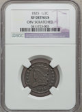 Half Cents: , 1825 1/2 C -- Obv Scratched -- NGC Details. XF. NGC Census:(12/300). PCGS Population (22/182). Mintage: 63,000. Numismedia...