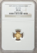 California Fractional Gold, 1875 50C Indian Octagonal 50 Cents, BG-933, R.5, MS66 NGC....