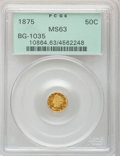 California Fractional Gold, 1875 50C Liberty Round 50 Cents, BG-1035, High R.5, MS63 PCGS....