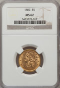 1882 $5 MS62 NGC. NGC Census: (2410/1713). PCGS Population (1232/776). Mintage: 2,514,568. Numismedia Wsl. Price for pro...
