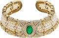 Estate Jewelry:Necklaces, Emerald, Diamond, Cultured Pearl, Gold Necklace. ...