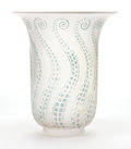 Glass, R. LALIQUE FROSTED GLASS MEDUSE VASE WITH BLUE PATINA . Circa 1921. Engraved: Lalique . 6-1/4 inches high (1...