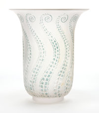 R. LALIQUE FROSTED GLASS MEDUSE VASE WITH BLUE PATINA Circa 1921 Engraved:
