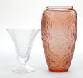 Art Glass:Lalique, TWO LALIQUE GLASS VASES . Circa 2000. Engraved: Lalique, France,Premier Edition . 9-1/4 inches high (23.5 cm). ... (Total: 2Items)
