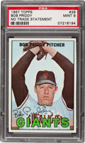 Baseball Cards:Singles (1960-1969), 1967 Topps Bob Priddy, No Trade Line #26 PSA Mint 9....