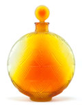 Glass, R. LALIQUE SHADED AMBER GLASS WORTH VERS LE JOUR PERFUME BOTTLE . Circa 1926. Molded: R. LALIQUE, FR...