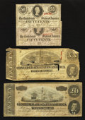Confederate Notes:Group Lots, $20 and Fifty Cent CSA Notes.. ... (Total: 4 notes)