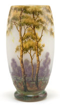 Art Glass:Daum, DAUM GLASS LANDSCAPE VASE . White glass with etched and enameledSpring landscape motif, circa 1900 . Marks: DAUM, NANCY (ca...