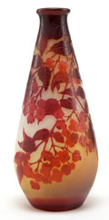 Art Glass:Galle, GALLE GLASS VASE . Yellow glass with red cameo overlay in a flowering branch motif, circa 1900 . Marks: Galle (cameo) . ...