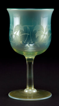 TIFFANY STUDIOS FAVRILE GLASS WINE GOBLET Green Favrile glass goblet with etched berry motif, circa 1900 Engr