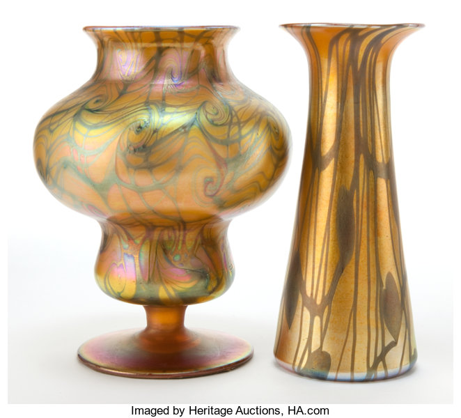 Two Kew Blas Glass Vases Gold Footed Vase With Green Lot 64058