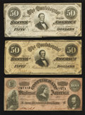 Confederate Notes:1864 Issues, T65 $100 1864. T66 $50 1864 Two Examples.. ... (Total: 3 notes)