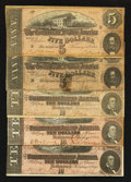 Confederate Notes:1864 Issues, T68 $10 1864 Three Examples. T69 $5 1864 Two Examples.. ... (Total: 6 notes)