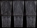 Glass, THREE R. LALIQUE CLEAR AND FROSTED GLASS DEUX PIGEONS DOUBLE ARCHITECTURAL PANELS . Comprising thre... (Total: 6 Items)