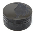 Art Glass:Lalique, R. LALIQUE BLACK GLASS COQ BOX AND COVER . Circa 1910 .Engraved: France . 4 inches diameter (10.2 cm). ...