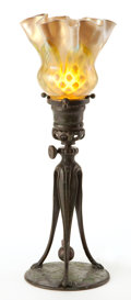 Art Glass:Tiffany , TIFFANY STUDIOS CANDLESTICK LAMP AND GLASS SHADE . Bronzeadjustable candlestick lamp with glass shade with ruffled edge,ci... (Total: 2 Items)