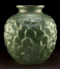 Art Glass:Lalique, MONUMENTAL R. LALIQUE CLEAR AND FROSTED GLASS CHARMILLESVASE WITH GREEN PATINA . Circa 1926. Molded: R. LALIQUE...