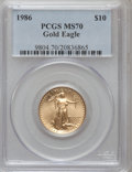 Modern Bullion Coins: , 1986 G$10 Quarter-Ounce Gold Eagle MS70 PCGS. PCGS Population (25).NGC Census: (144). Mintage: 726,031. Numismedia Wsl. Pr...