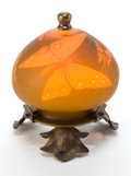 Art Glass:Schneider, CHARLES SCHNEIDER GLASS VEILLEUSE . Orange glass with ochreoverlay, acid-etched and wheel-carved in butterfly motif on meta...