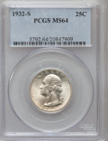Washington Quarters: , 1932-S 25C MS64 PCGS. PCGS Population (981/110). NGC Census:(552/69). Mintage: 408,000. Numismedia Wsl. Price for problem ...