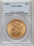 Liberty Double Eagles: , 1882-S $20 MS61 PCGS. PCGS Population (304/333). NGC Census:(392/167). Mintage: 1,125,000. Numismedia Wsl. Price for probl...