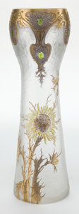Art Glass:Other , GLASS VASE ATTRIBUTED TO MONT JOYE. Textured glass vase with silver and gold acid-etched overlay and applied enamel floral d...