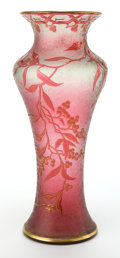 Art Glass:Other , BACCARAT DEPOSE GLASS VASE . Red textured glass vase with redacid-etched overlay and applied gilt enamel in vine motif, cir...