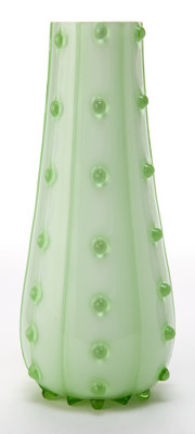 AUSTRIAN GLASS VASE Opaque green glass vase with translucent green overlay, prunts and stripes, 20th century