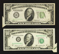 Error Notes:Foldovers, Fr. 2006-B $10 1934A Federal Reserve Note. Very Choice CrispUncirculated; Fr. 2013-B $10 1950C Federal Reserve Note.Extremel... (Total: 2 notes)