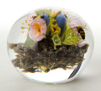 PAUL STANKARD GLASS PAPERWEIGHT IN BOX AND ASSOCIATED BOOKS Glass globe paperweight with enclosed floral motif an