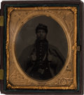 Photography:Tintypes, Sixth Plate Civil War Tintype of a Black Federal Infantryman....