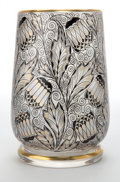 Art Glass:Other , ADOLF BECKERT GLASS VASE . Clear glass vase with applied gold andblack stylized floral enamel decoration, circa 1915. 5-1/2...